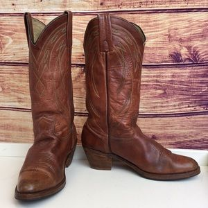 Frye Brown Leather Round Point Toe Cowboy Boot